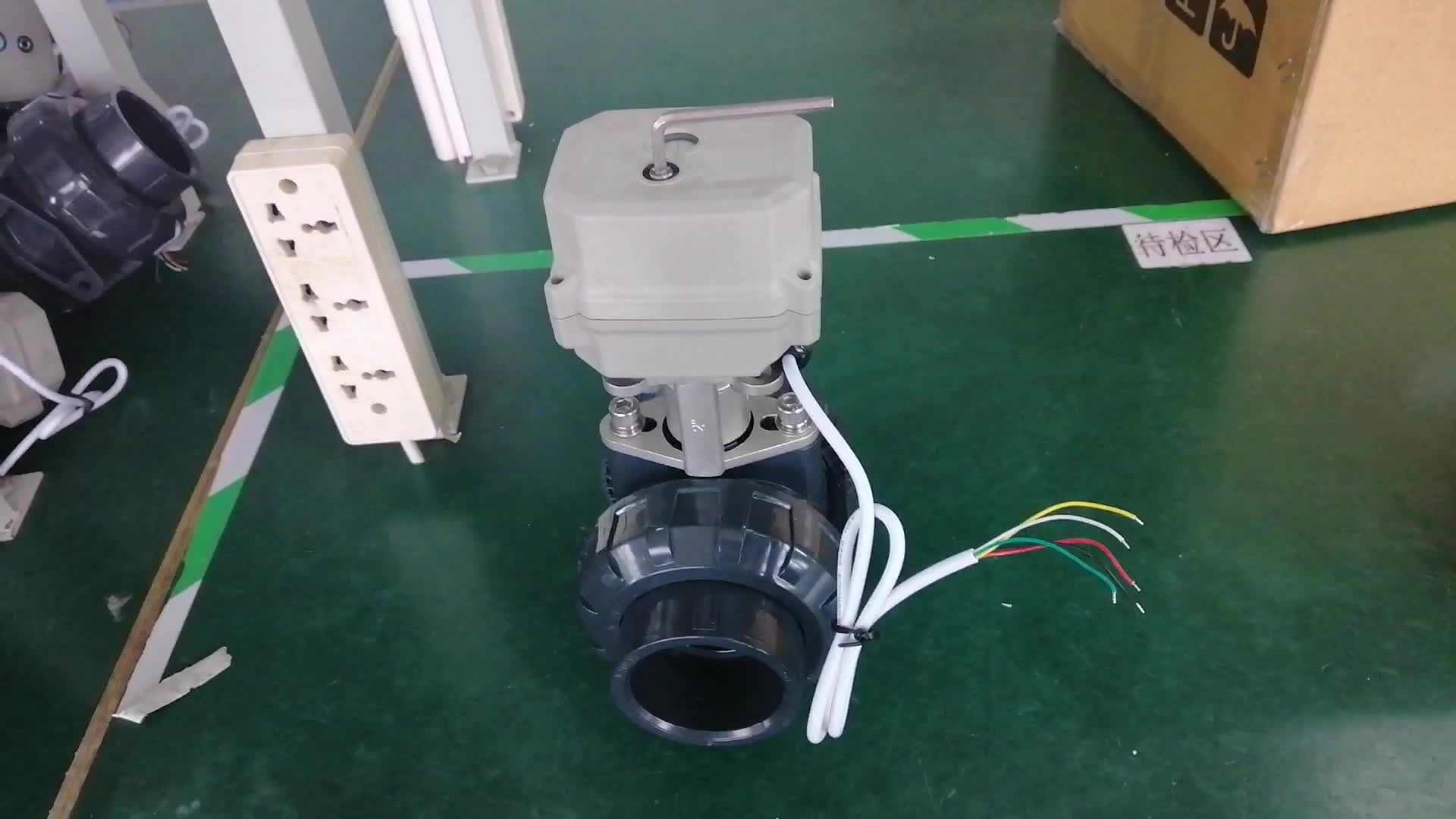 CE DN25 AC/DC24V UPVC electric ball valve/PVC electric actuator ball valve(CR3 03 wiring)