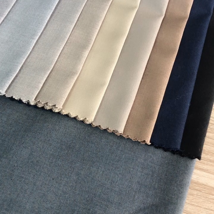 toyobo fabric twill plain dyed garment factory Woven Viscose / Polyester tr suiting fabric for men