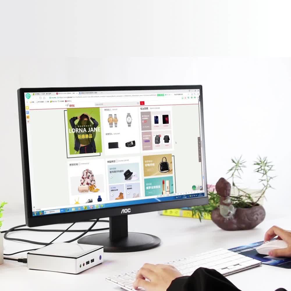 저비용 인텔 셀러론 2955U 프로세서 우분투 Win OS 화이트 미니 PC 데스크탑 컴퓨터 홈 오피스 비즈니스