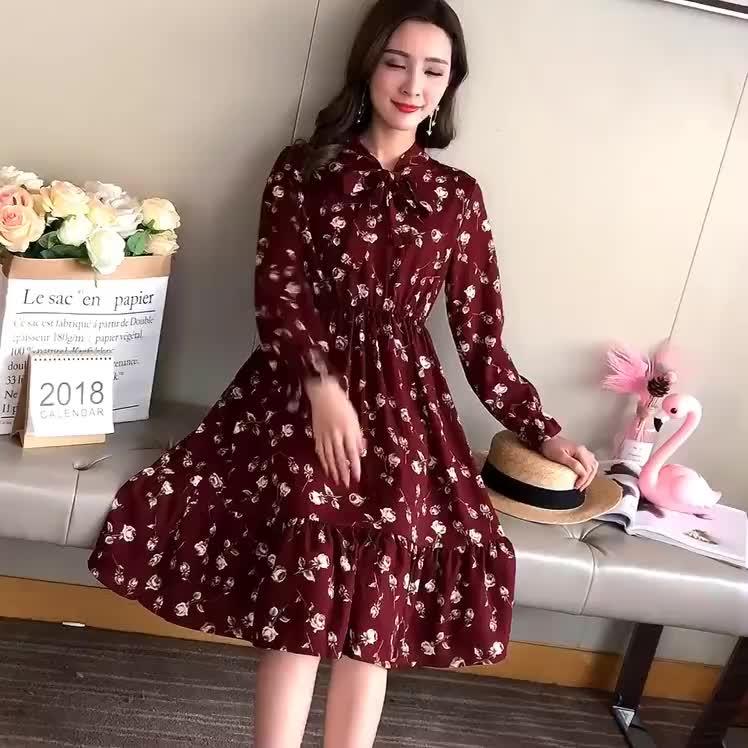32 renkler ucuz yaz şifon çiçek ince sonbahar kadın elbise yay ile moda