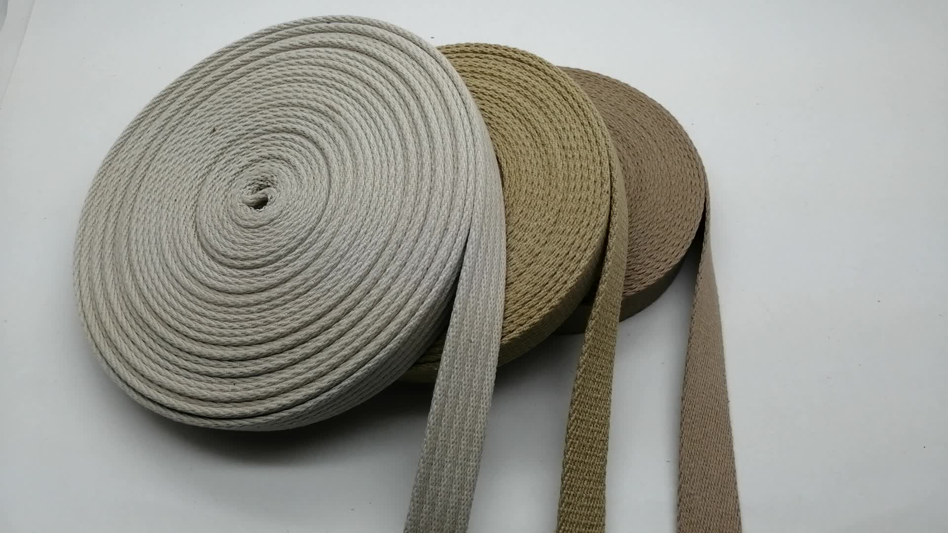 Natural color custom cotton flat fabric bag handle strap