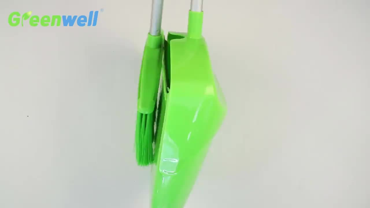 New product Chinese supplier high quality plastic household cleaning upright design windproof folding broom and dustpan