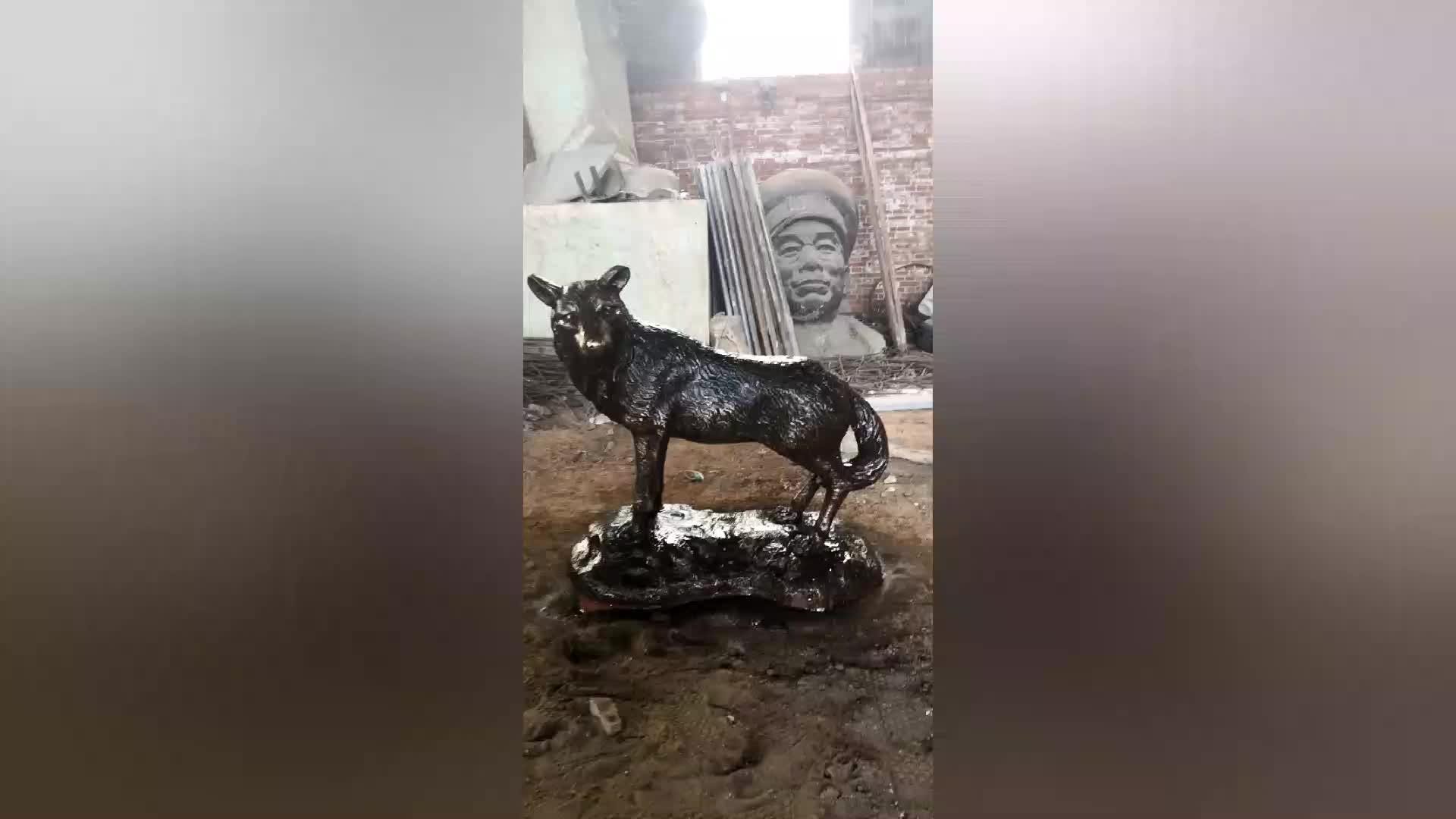 Metal craft custom outdoor garden animal sculpture life size bronze wolf statue for sale