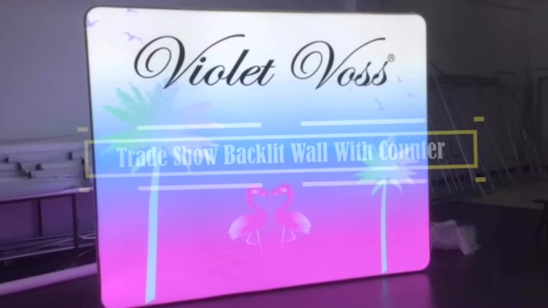 Straight Backdrop Backlit Trade Show Tension Fabric Tube Display Wall