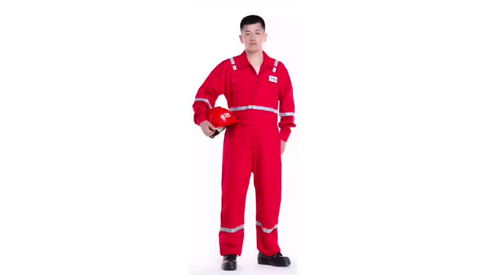 OEM  oil and gas red suit fireproof flame retardant coveralls