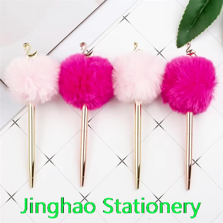 JH Kids Fancy Flamingo Swan Pen Luxury Kawaii Hairball Pen