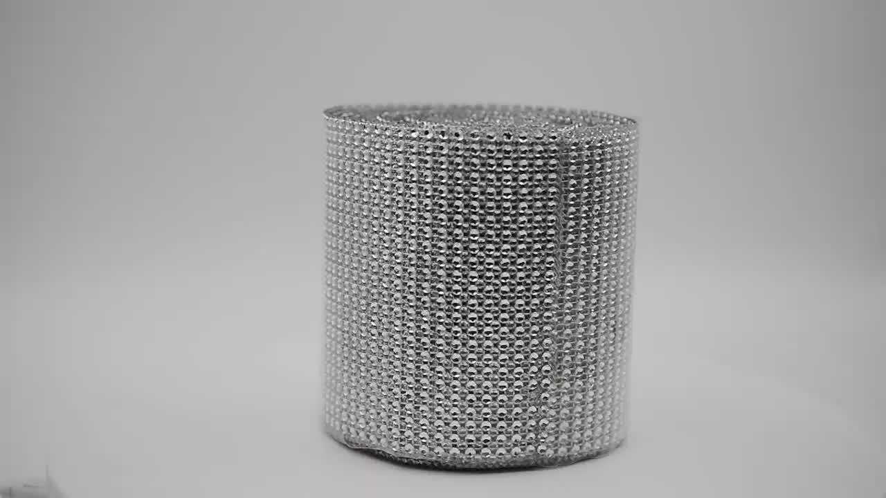 24 fileiras de prata diamante malha de rendas de jóias, bling bling diamante fita de bandas