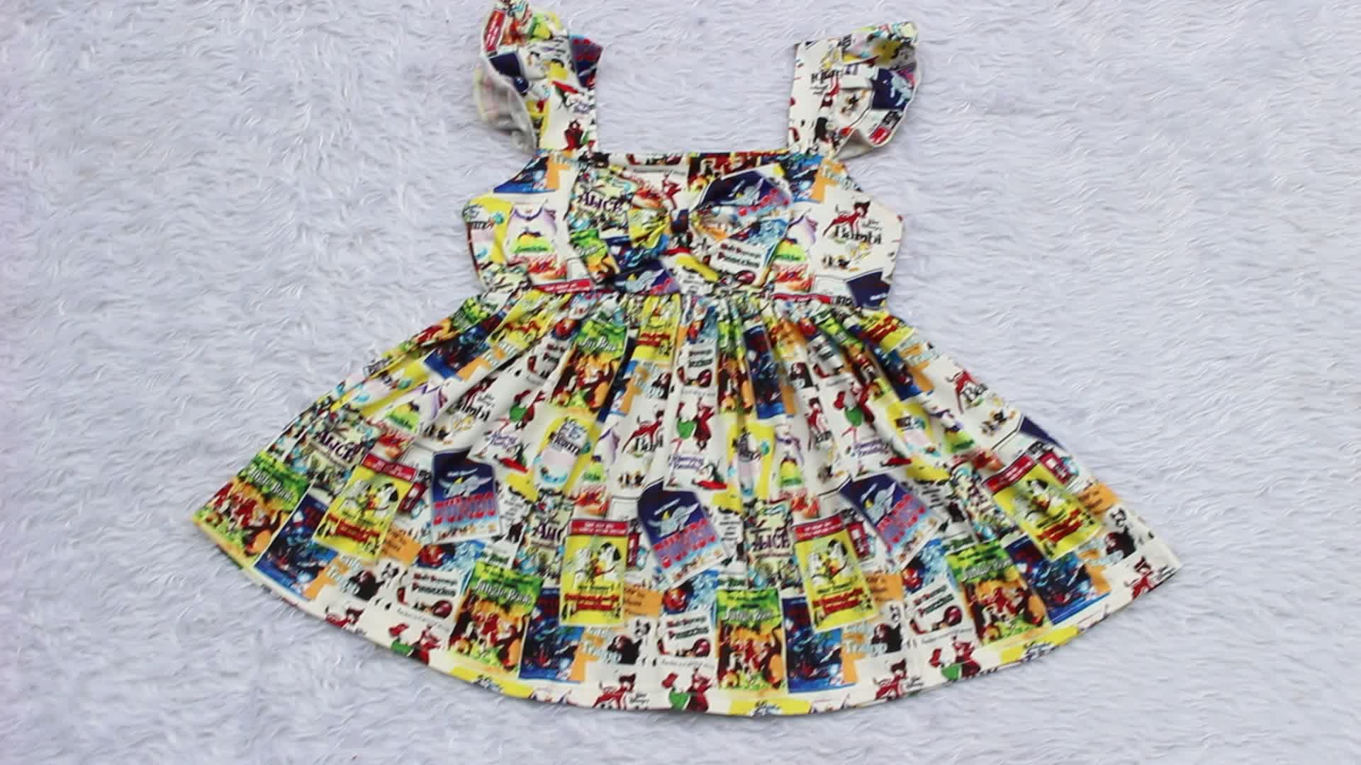 Wholesale Baby Girls Soft Cotton Dress Clothing Kids Printed Design dresses Girls Party Dress Boutique Clothes