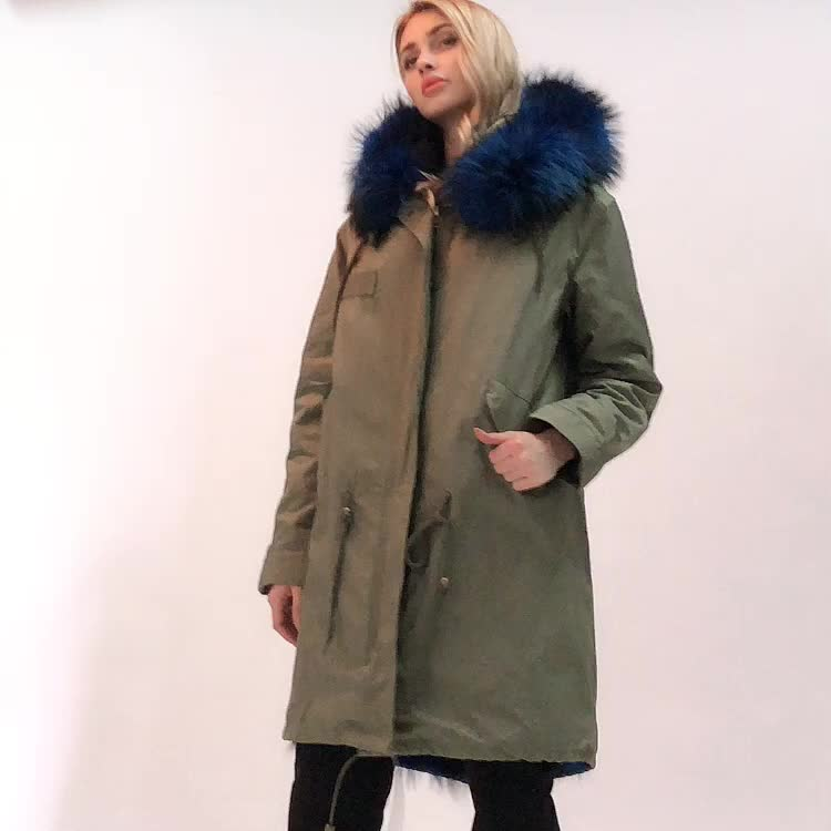 333colorful fur collar/liner winter zipper parka coat ladies long real fur parka with fur cuff