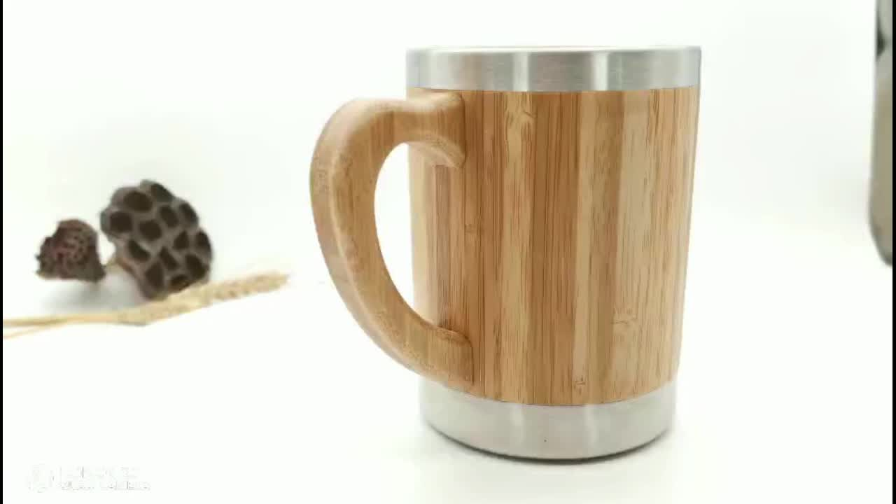 Promotion New leak-proof insulated leather stainless steel bamboo coffee mug