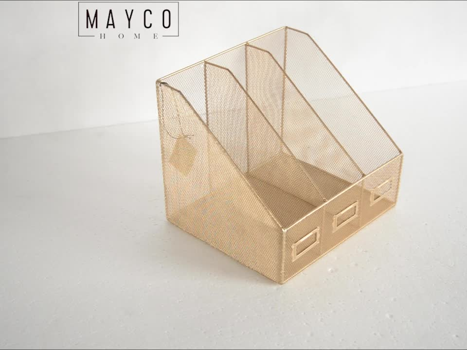 Mayco Stationery Set Home Office Accessories 3 Slots Storage Metal Mesh File Desk Organizer