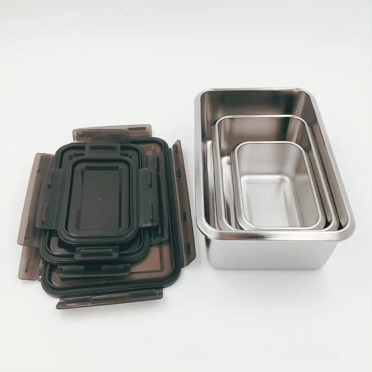 Stainless Steel Food Containers -Set of 3 Sizes Kimchi Storage Lunch Box with Sealed Lid - Freezer & Dishwasher Safe