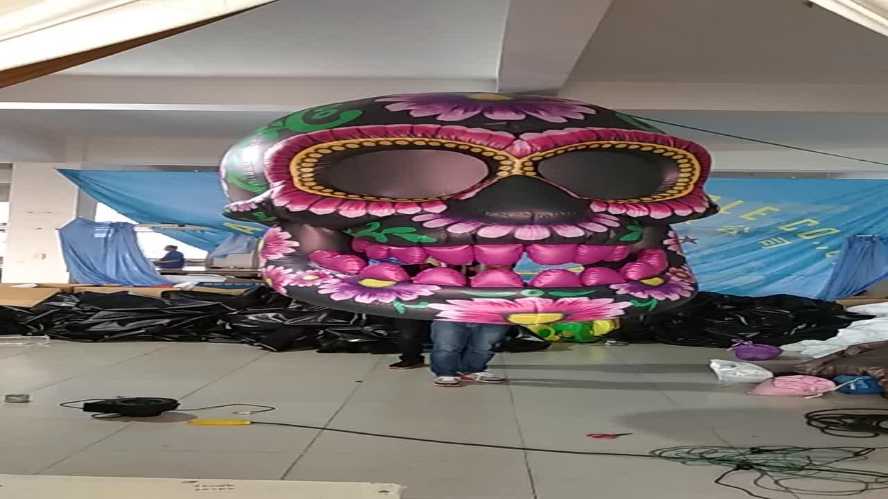 สีสันปาร์ตี้ฮาโลวีน inflatable skull head เครื่องแต่งกาย