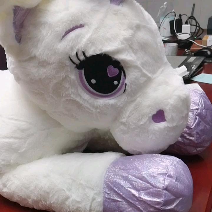 Fabrika fiyat özel büyük unicorn peluş doldurulmuş yumuşak oyuncak pembe ve beyaz gökkuşağı boynuz Unicorn çocuklar için kız arkadaşı hediye