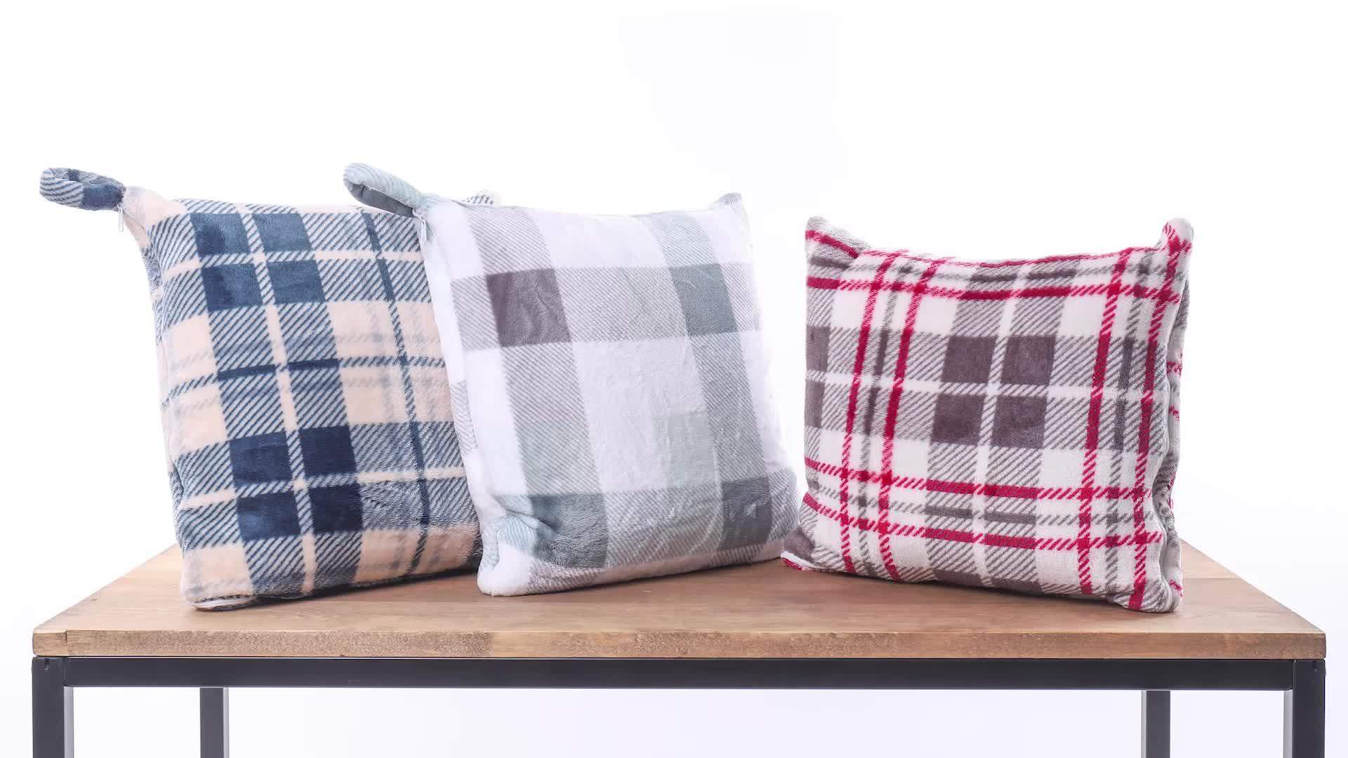 卸売 100% ポリエステルフリーススロー枕毛布正方形クッションブランケット