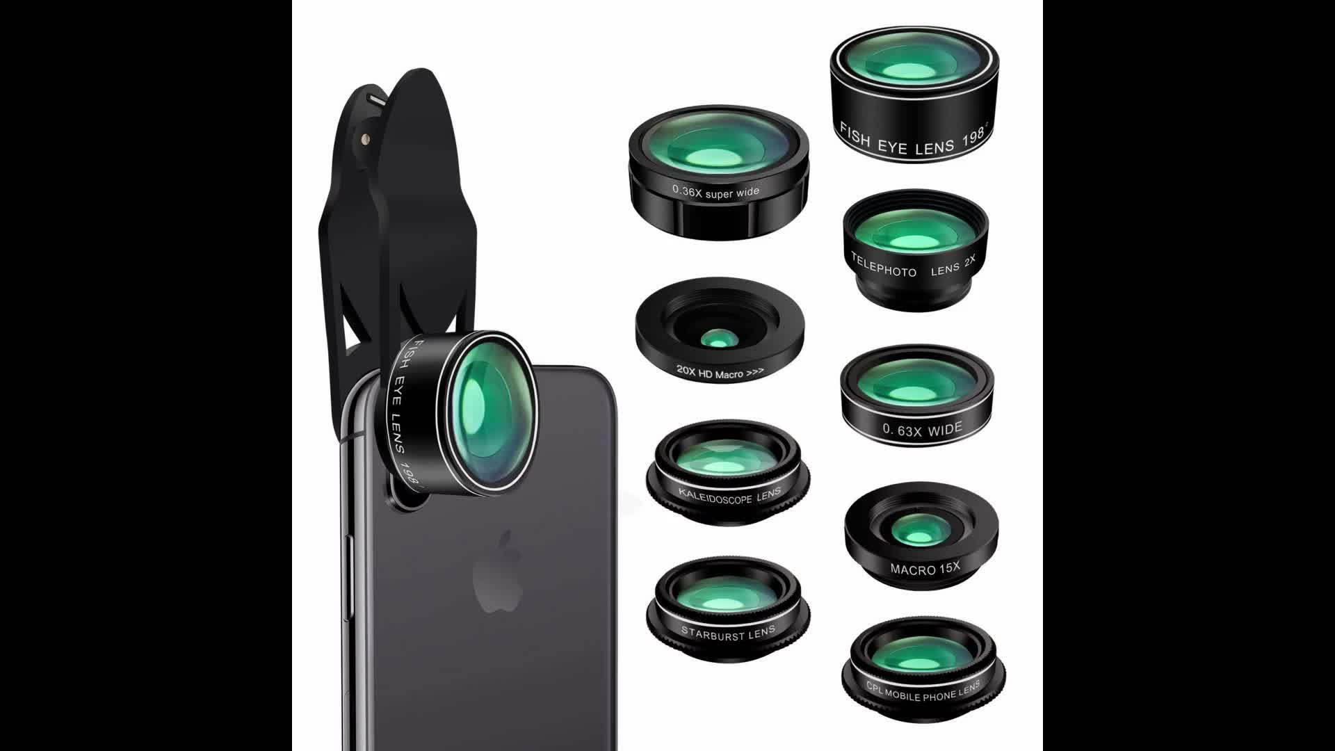Aike global optical kaleidoscope lens for mobile phone camera lens  universal 7 in 1 lens kit