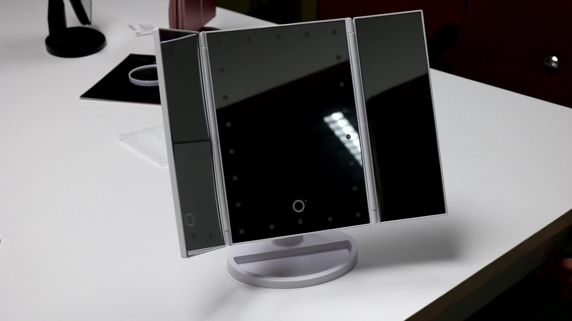 Support De Table De Capteur D'écran Tactile Trifold Vanity De Voyage Miroir avec 22 Lumières
