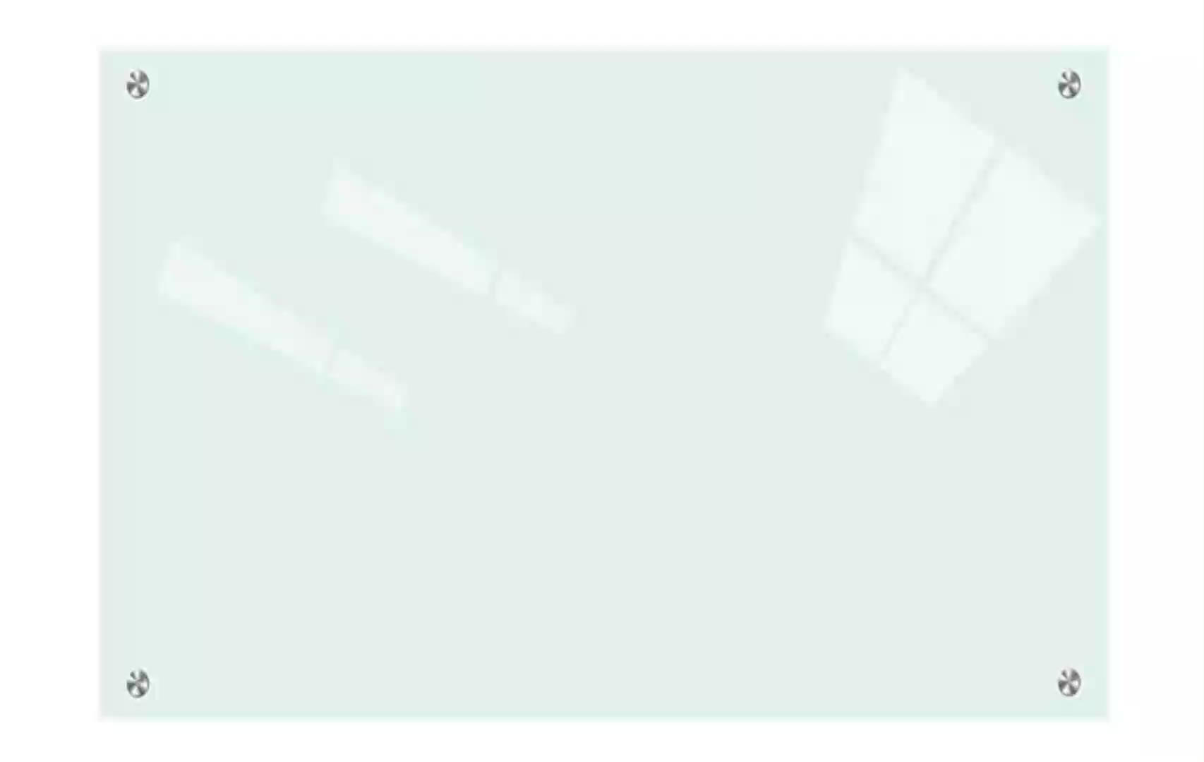 لوح أبيض مغناطيسي بدون إطار من الزجاج المقوى غير قابل للوهج ، لوح أبيض زجاجي