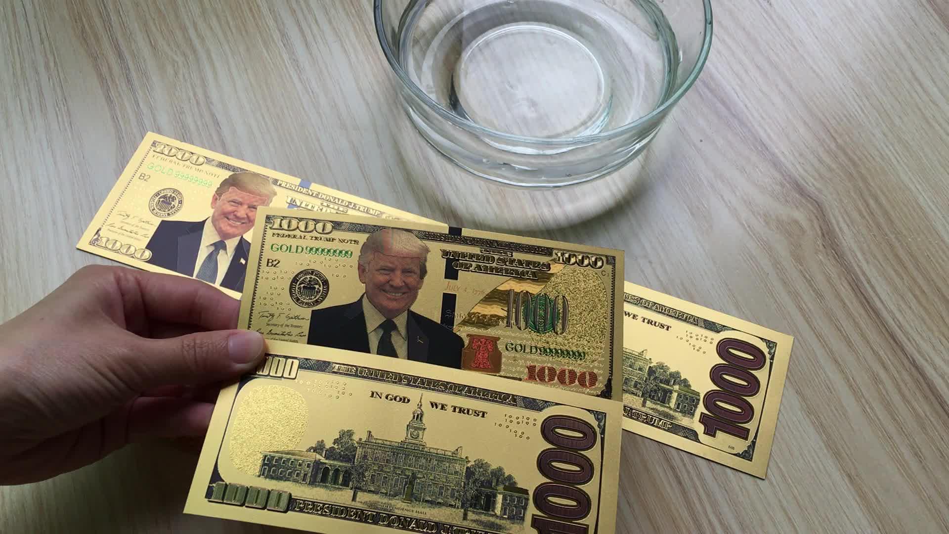 Original Size Colorized USA President Donald Trump 100 Bill Dollar Gold Foil Banknote Money