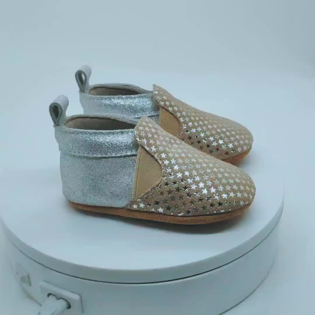 Wholesale  Print Sliver Bling Glitter Moccasin Shoes  Baby Leather Shoes