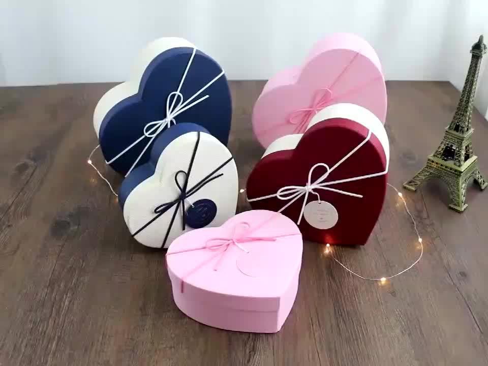 Commercio all'ingrosso A Buon Mercato Logo Personalizzato Amore a Forma di Cuore Regalo Scatola di Imballaggio Con Il Nastro di Chiusura