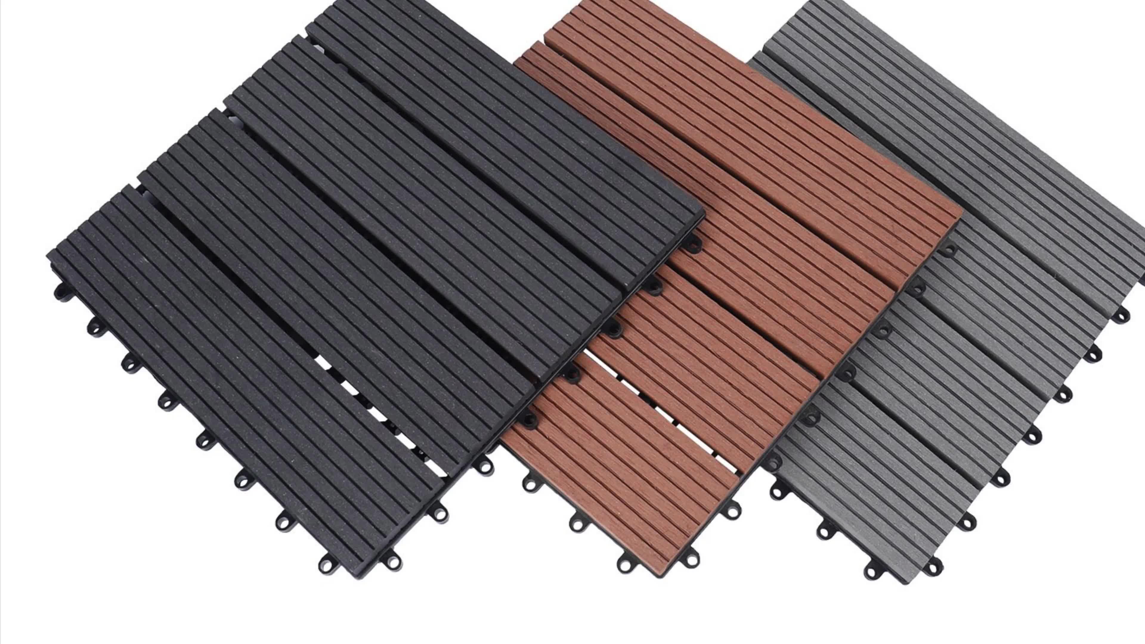 Prezzo all'ingrosso di nuoto piscina impermeabile antiscivolo pavimento in legno deck piastrelle plasti solido composito WPC legno deck piastrelle