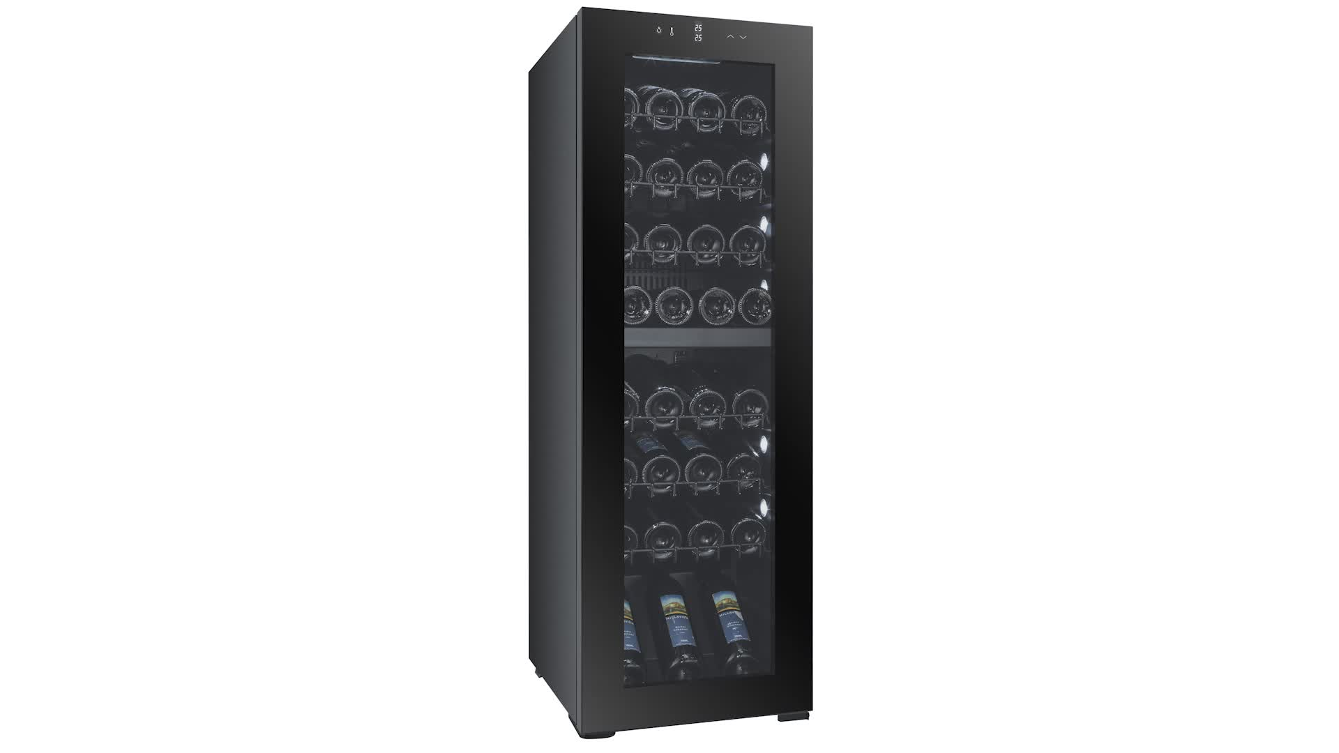 JC-120 Custom 48 Bottle Tall Narrow Wine Fridge, Slim Wine Cooler With Glass Door