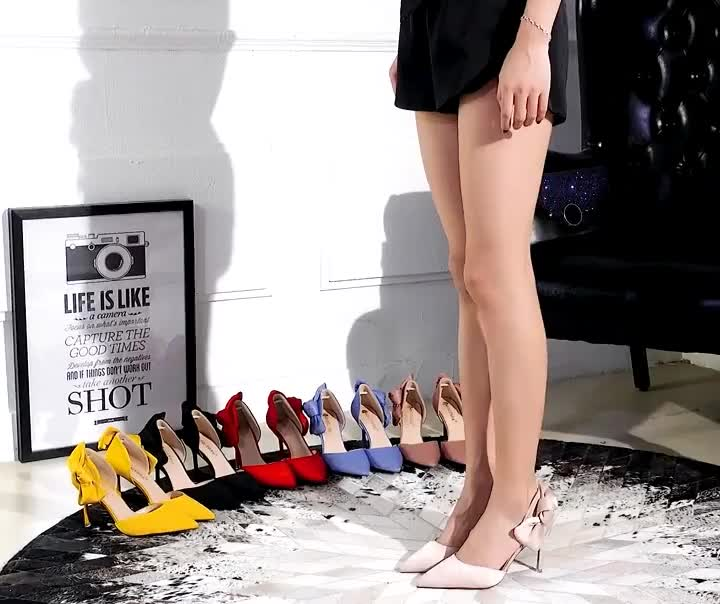 Korean Fashion Stiletto High-Heeled Suede Hollow Shallow Mouth Sexy Slimming Pointed Bow Hollow Sandals