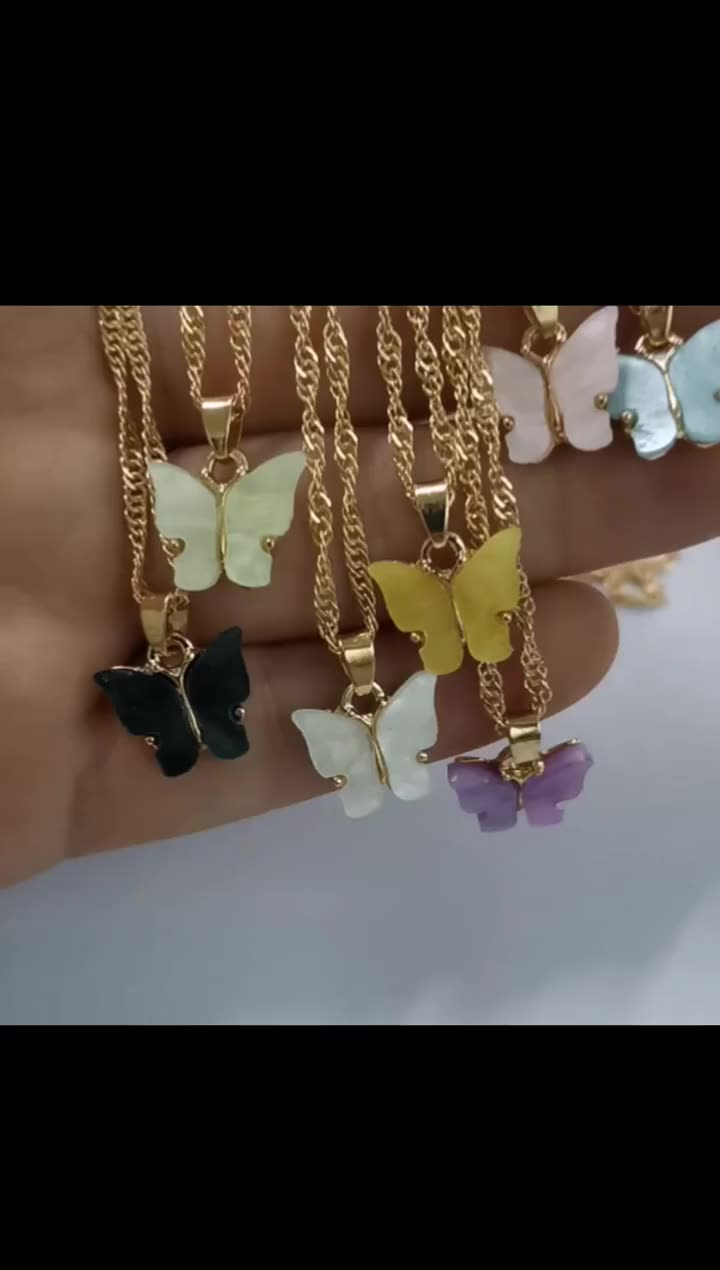 wholesale gold plated butterfly charm necklace pendant small acrylic blue pink butterfly necklace jewelry