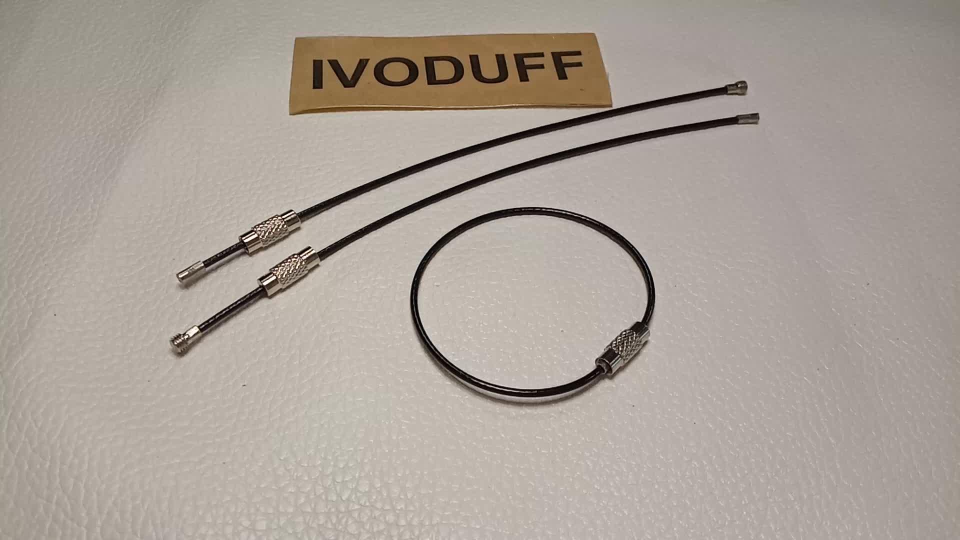 Anel chave chaveiro chaveiro fio de aço inoxidável corda círculo loop de cabo ao ar livre de acampamento bagagem tag parafuso de bloqueio do dispositivo