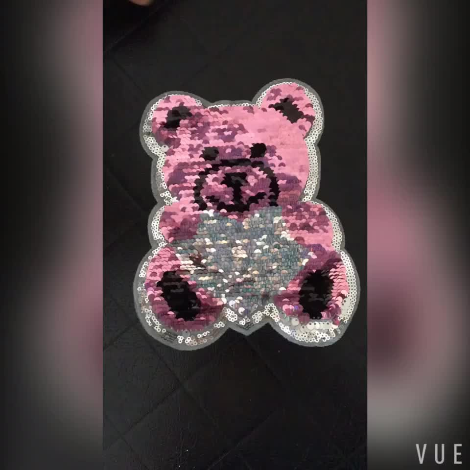 Wholesale cute pink and silver bear reversible sequin beaded patches