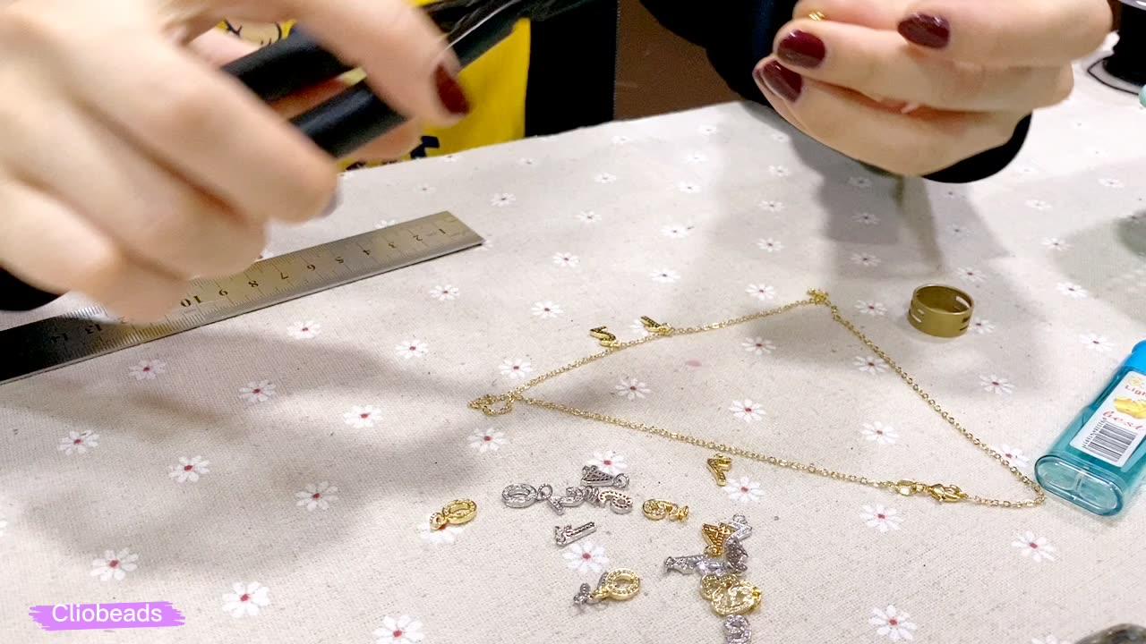 Diy Zilver Goud Gunmetal Plated Gevuld Brass Hanger Cz Micro Pave 26 Brief Kralen Hanger Charms Voor Sieraden Maken