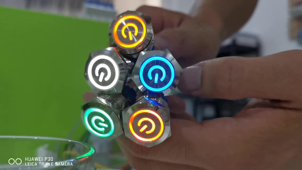 Interrupteur LED annulaire en acier inoxydable, boîtier arrière de 22mm, 6 broches, pas de bouton-poussoir en métal, imperméable, 12V, 24V, 220V, 2 pièces
