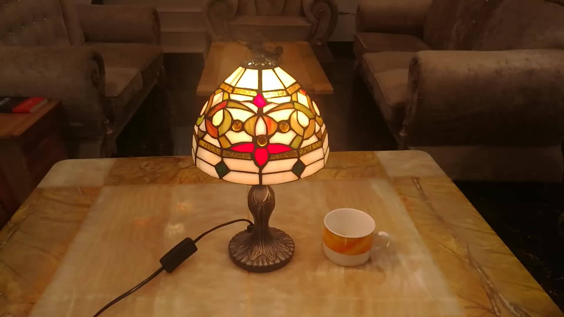 """8"""" glass handmade tiffany lamp with stained glass  desk table lamp"""