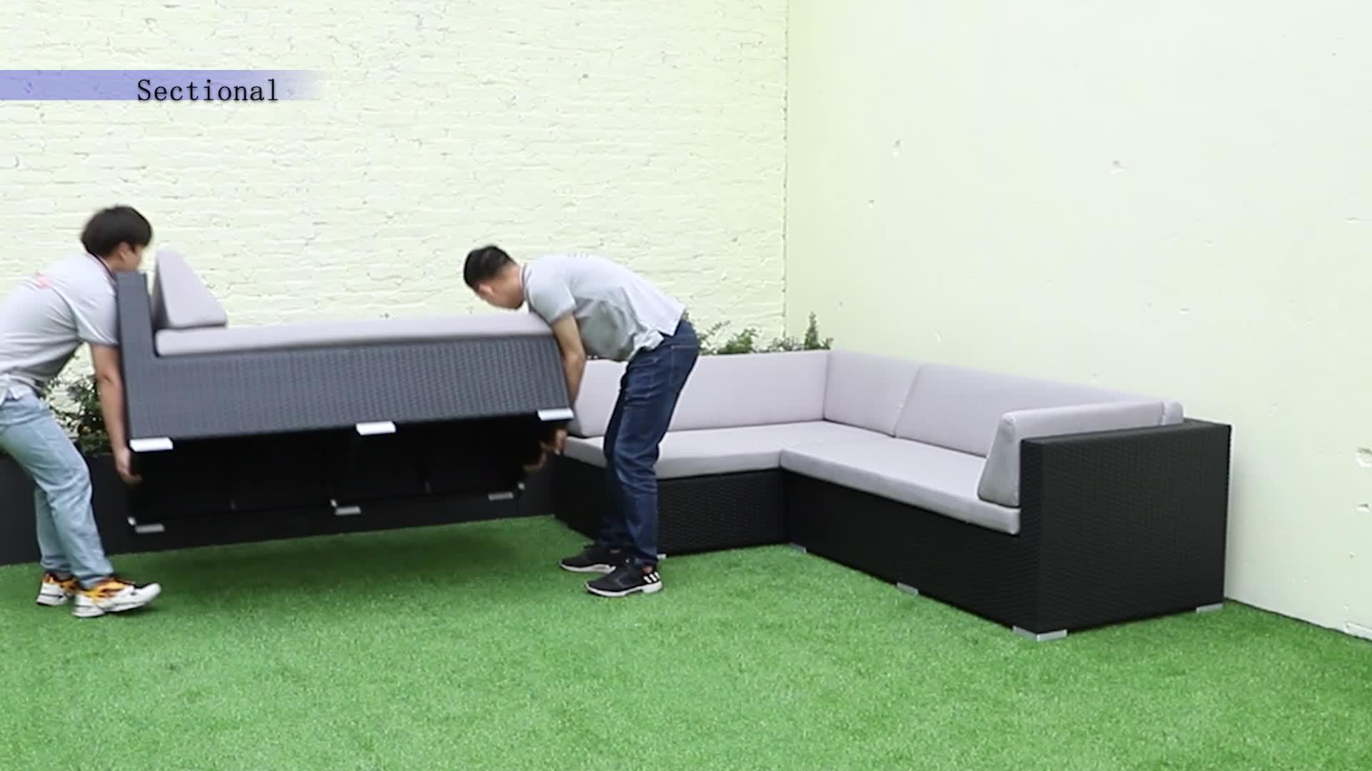Sofá Modular de mimbre para todo tipo de clima, montaje de Base de ratán, mesa de fogón