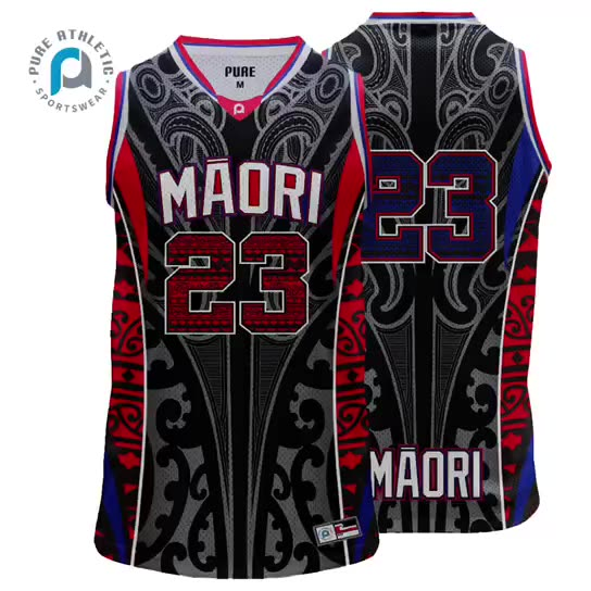 Pure custom design black red Maori tattoo sublimation Sport jersey Basketball