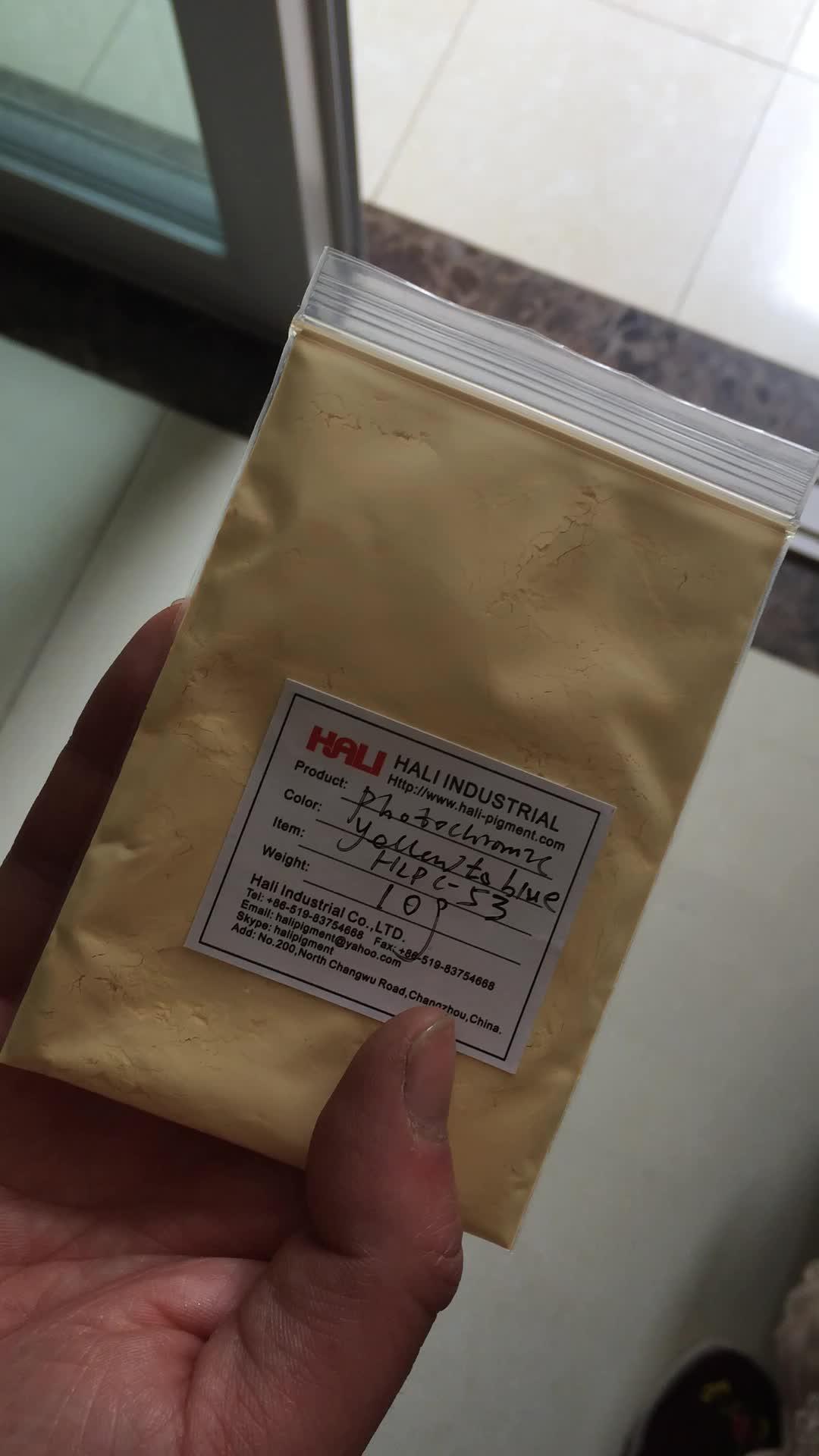 photochromic pigment, paint powder, sunlight sensitive, item:HLPC-53, yellow to blue
