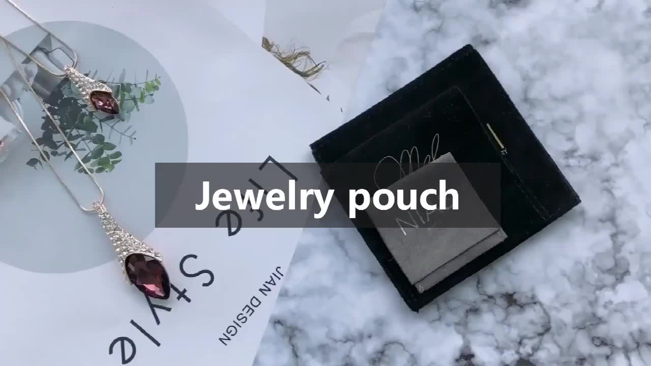 small jewelry bag luxury high quality black suede velvet jewelry pouch