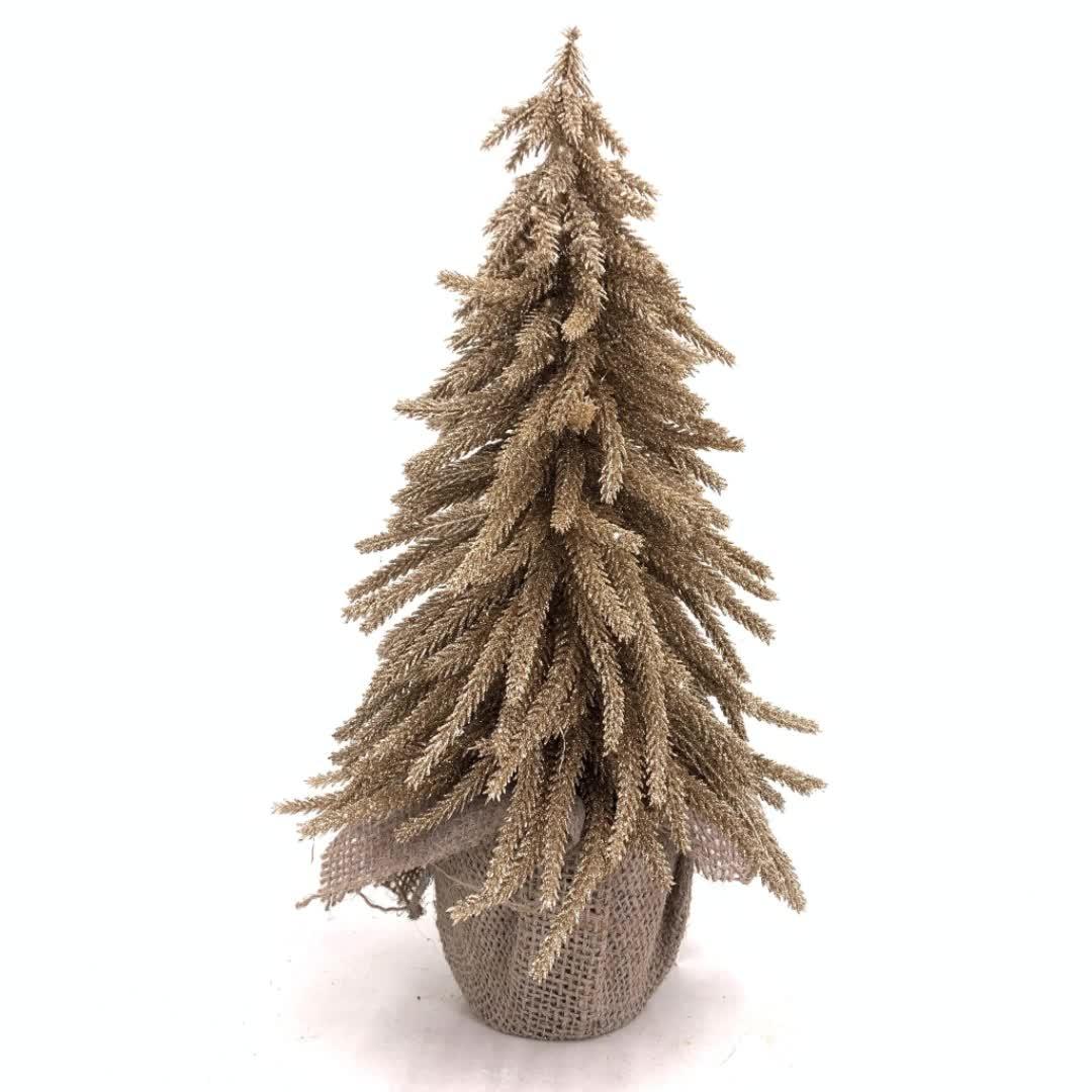 Mini albero Di Natale PE luce Champagne oro coperta da tavolo mini artificiale albero di pino in tela avvolto vaso per la decorazione domestica