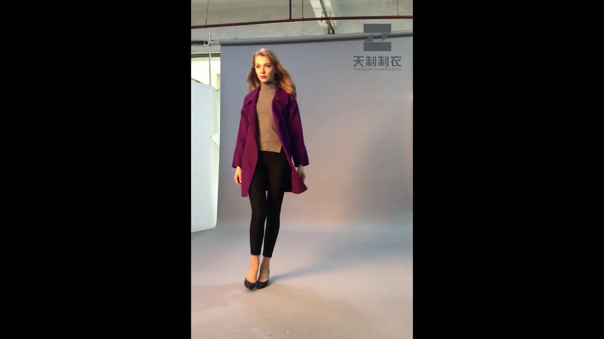 Finest Price European winter's newest fashion women's double face wool coat