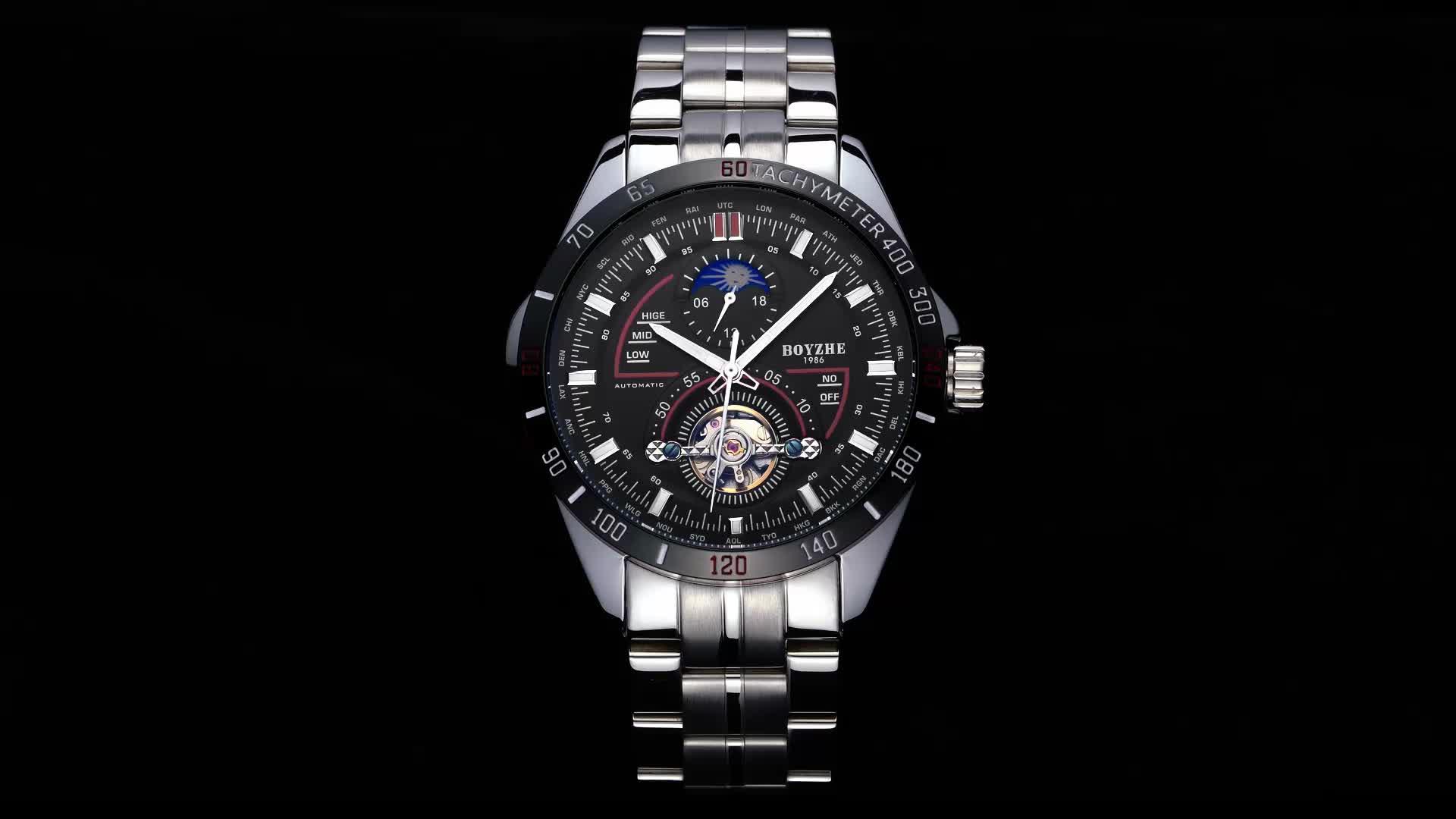 BOYZHE top homens de luxo fase da lua tourbillon relógio automático mecânico de aço inoxidável à prova d' água