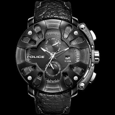 POLICE進口石英腕表酷黑朋克潮男皮帶大表盤手表意大利