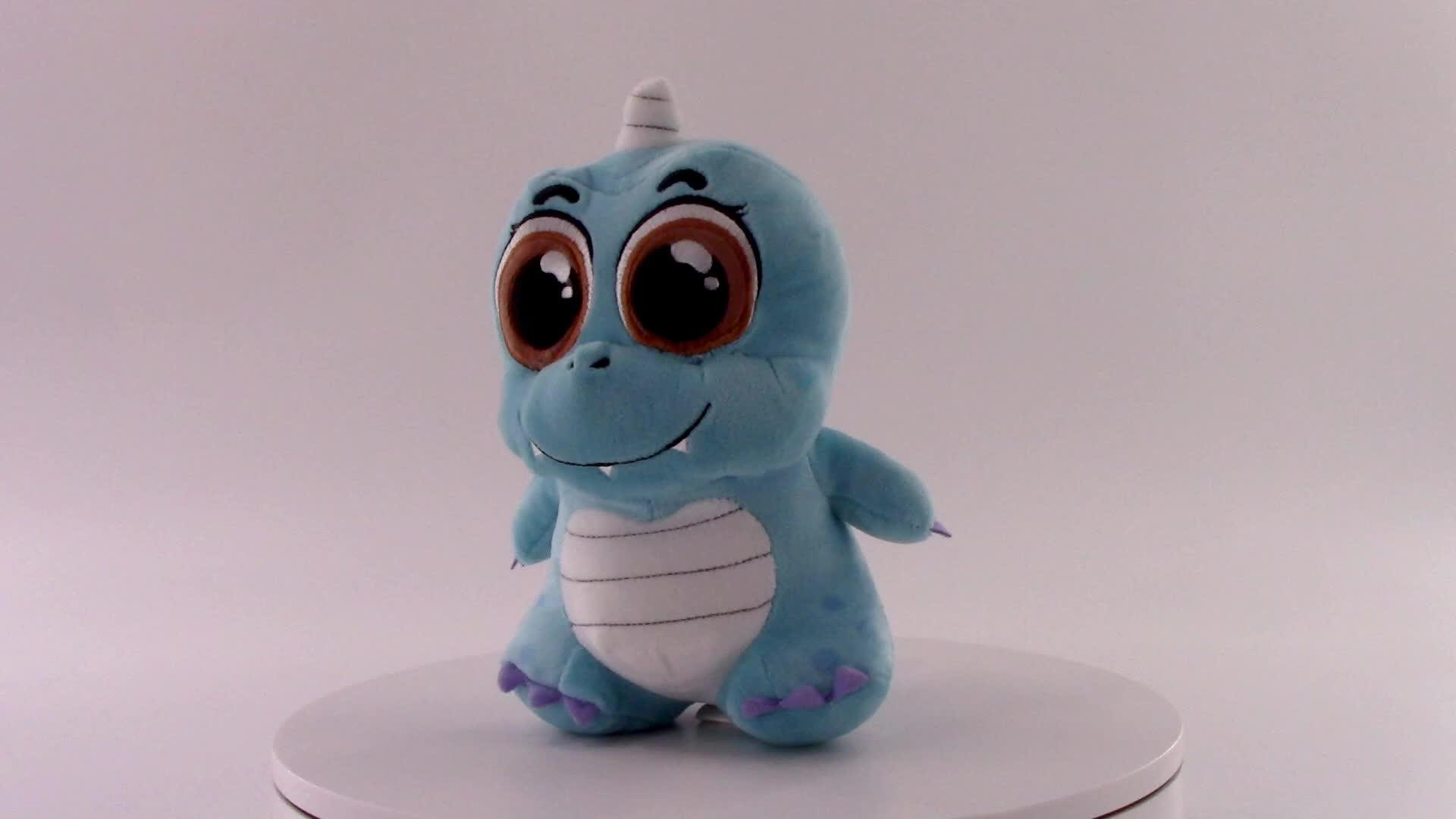 Custom blue baby stuffed animal plush dinosaur toy