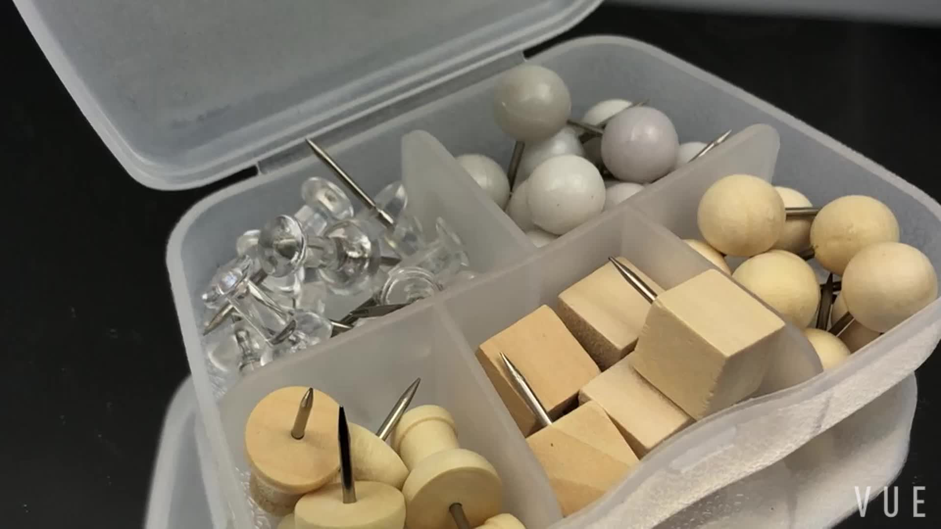 Wooden Push Pin Set with plastic box packing for Cork Bulletin Board