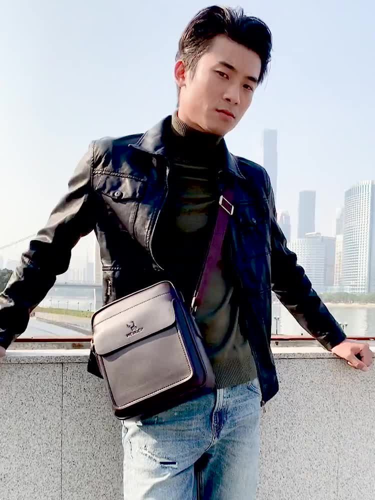 Factory new fashion pu leather business casual messenger shoulder sling bag