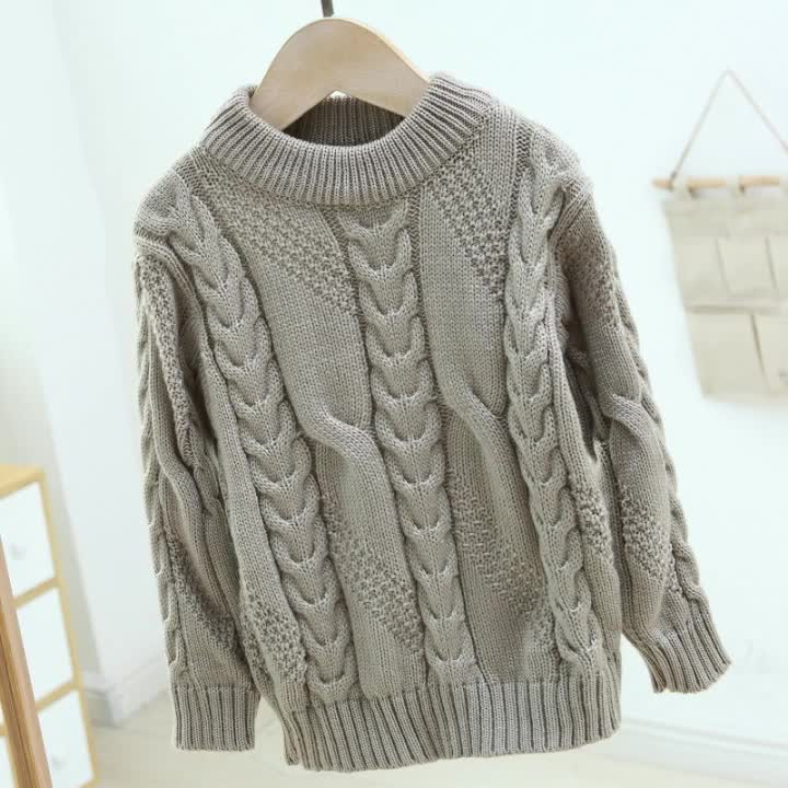 Wholesale children crew neck winter thick cable knitted boys and girls pullover sweater