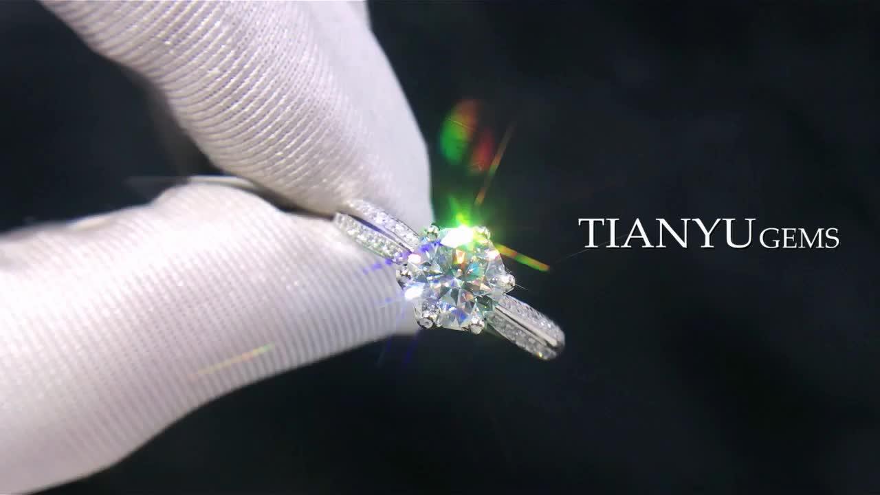Tianyu 1.0ct 보석 조절 쥬얼리 18k 골드 도금 925 실버 moissanite 결혼 반지
