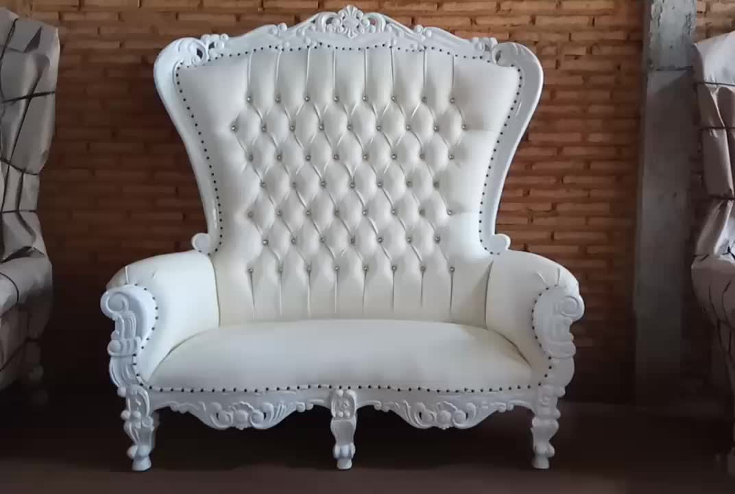 Baroque Highback Wedding Throne Loveseat White Finish