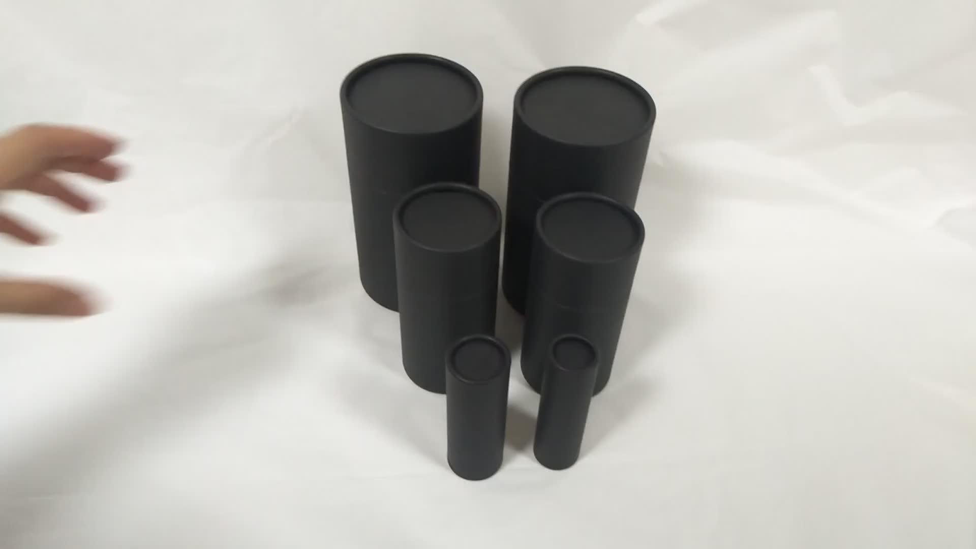 Custom printable rolled edge push up black Kraft paper paperboard packaging tube for sock