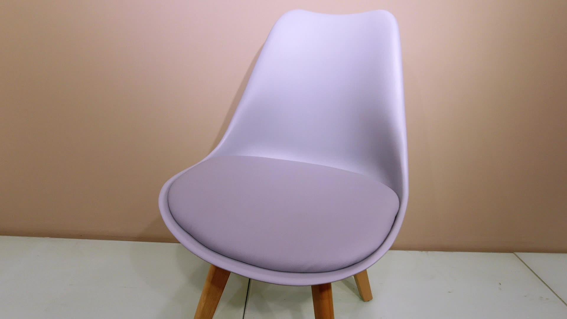 Großhandel preis hohe qualität farbige cafe kunststoff stühle tulpe harte pp esszimmer stuhl mit buche holz beine